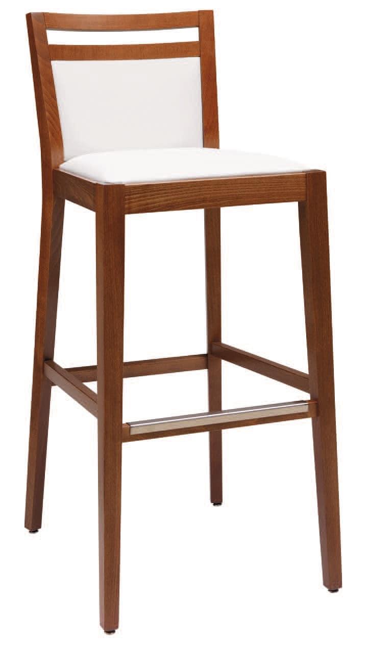 Sgabello imbottito in legno con varie finiture per bar for Sgabelli bar legno