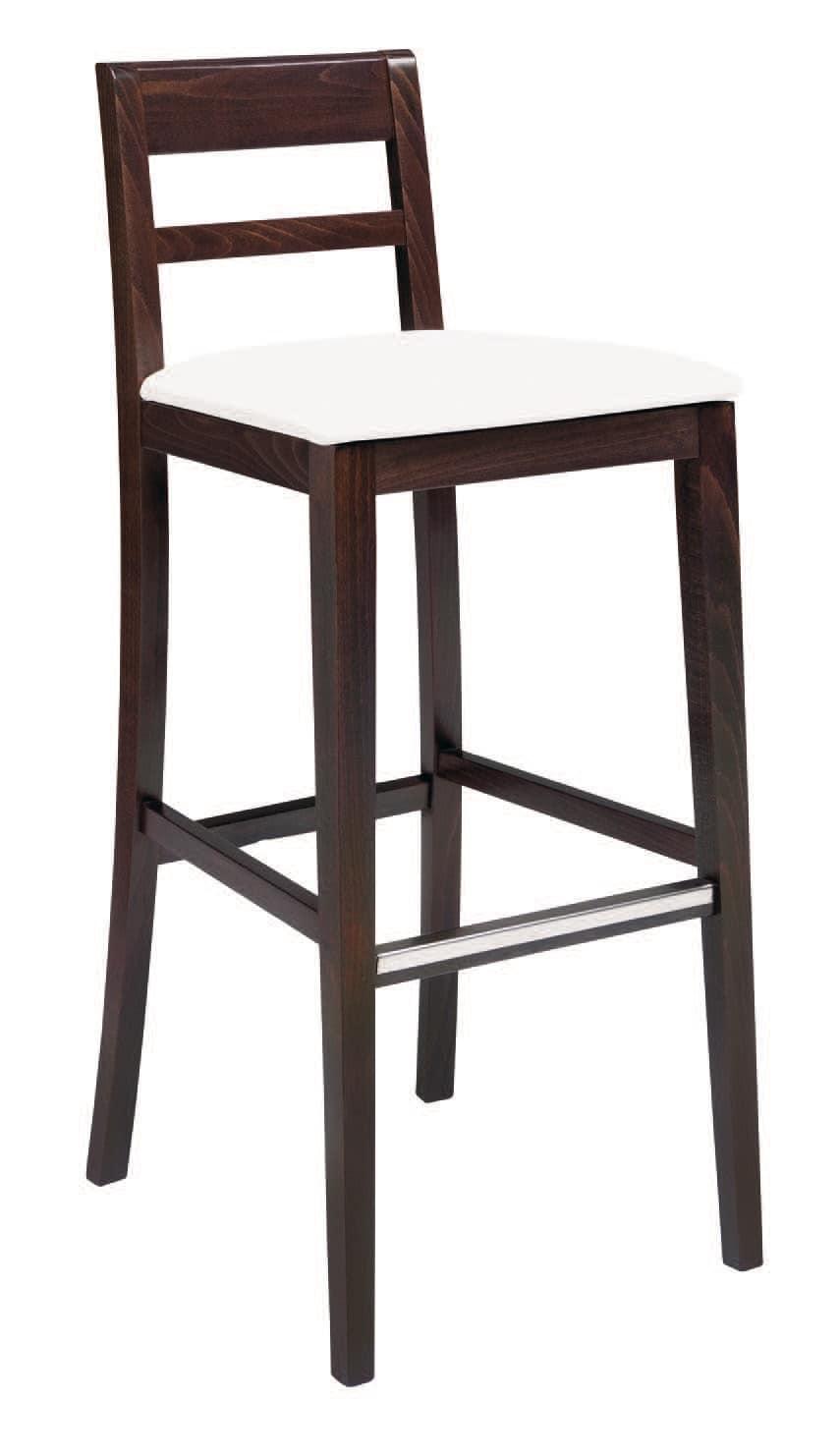 SG 490 / EI, Sgabello in legno verniciato, seduta rivestita in ecopelle