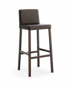 SG. RELAX, Sgabello in legno, con seduta e schienale imbottiti