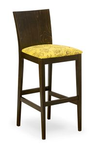 Sirio stool, Sgabello in legno con seduta imbottita