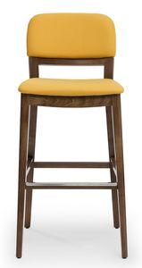 Tosca stool, Sgabello imbottito, con schienale disponibile in 3 versioni