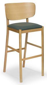 Viky stool, Sgabello in legno con schienale curvato