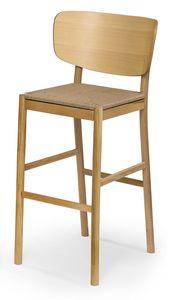 Viky straw stool, Sgabello in legno con seduta in paglia