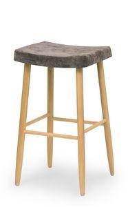 Web stool high, Sgabello in legno senza schienale
