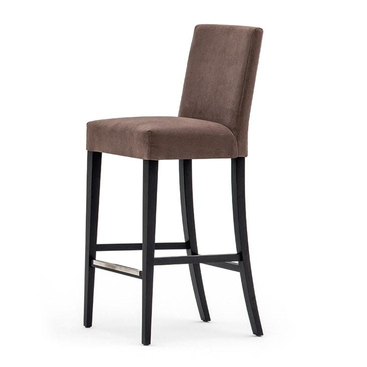 Zenith 01681, Sgabello con struttura in legno massiccio, seduta e schienale imbottiti, copertura in tessuto, appoggiapiede in acciaio, per uso contract
