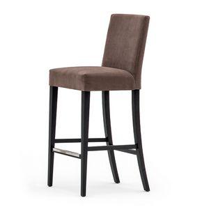 Zenith 01681 - 01691, Sgabello con struttura in legno massiccio, seduta e schienale imbottiti, copertura in tessuto, appoggiapiede in acciaio, per uso contract