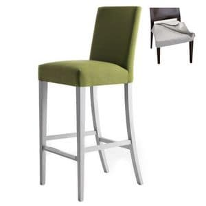 Zenith 01686 - 01696, Sgabello con struttura in legno massiccio, seduta e schienale imbottiti, copertura in tessuto sfoderabile, appoggiapiede in acciaio, per uso contract