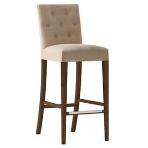 Zenith 01688 - 01698, Sgabello con struttura in legno massiccio, seduta e schienale imbottiti, copertura in tessuto, schienale capitonn�, appoggiapiede in acciaio, per uso contract