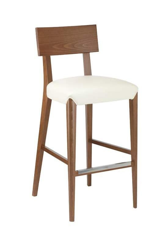 Sgabello in legno seduta imbottita ricoperta in tessuto for Sgabelli bar legno