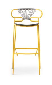 ART. 0049-MET-CROSS-PU STOOL GENOA, Sgabello in metallo, poliuretano e corda