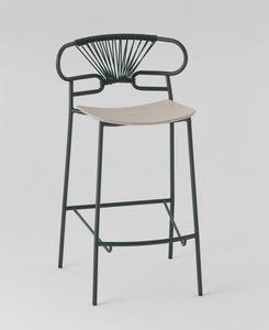 ART. 0049-MET-CROSS STOOL GENOA, Sgabello in metallo con seduta in legno