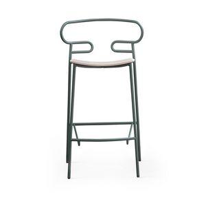 ART. 0049-MET STOOL GENOA, Sgabello in metallo con seduta in legno