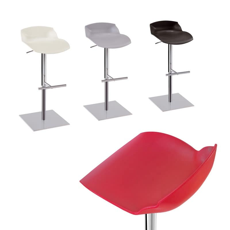 Kaleidos sgabello pistone, Sgabello regolabile in acciaio con seduta in plastica