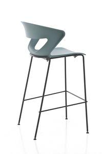 Kicca stool, Sgabello in metallo e polipropilene, disponibile anche imbottito