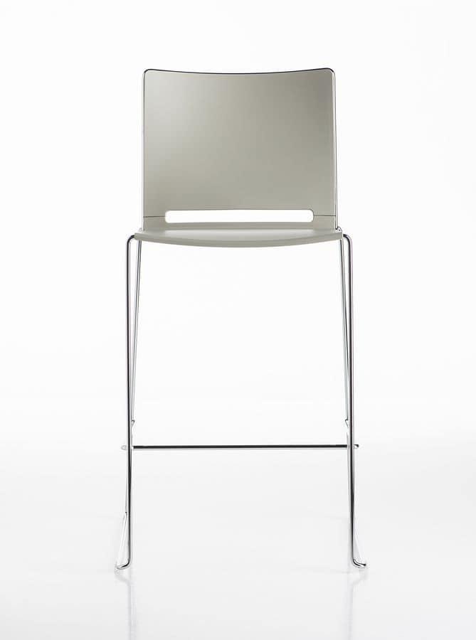 Slim stool, Sgabello colorato, in metallo, per aree break, bar, cucine