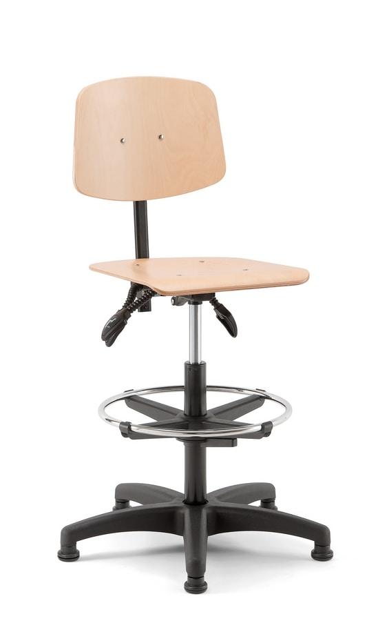 Woody 03, Sgabello girevole con seduta in legno