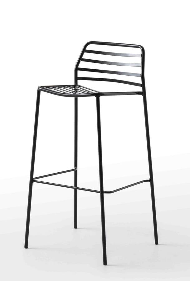 Link ST, Sgabello design completamente in metallo, per esterni