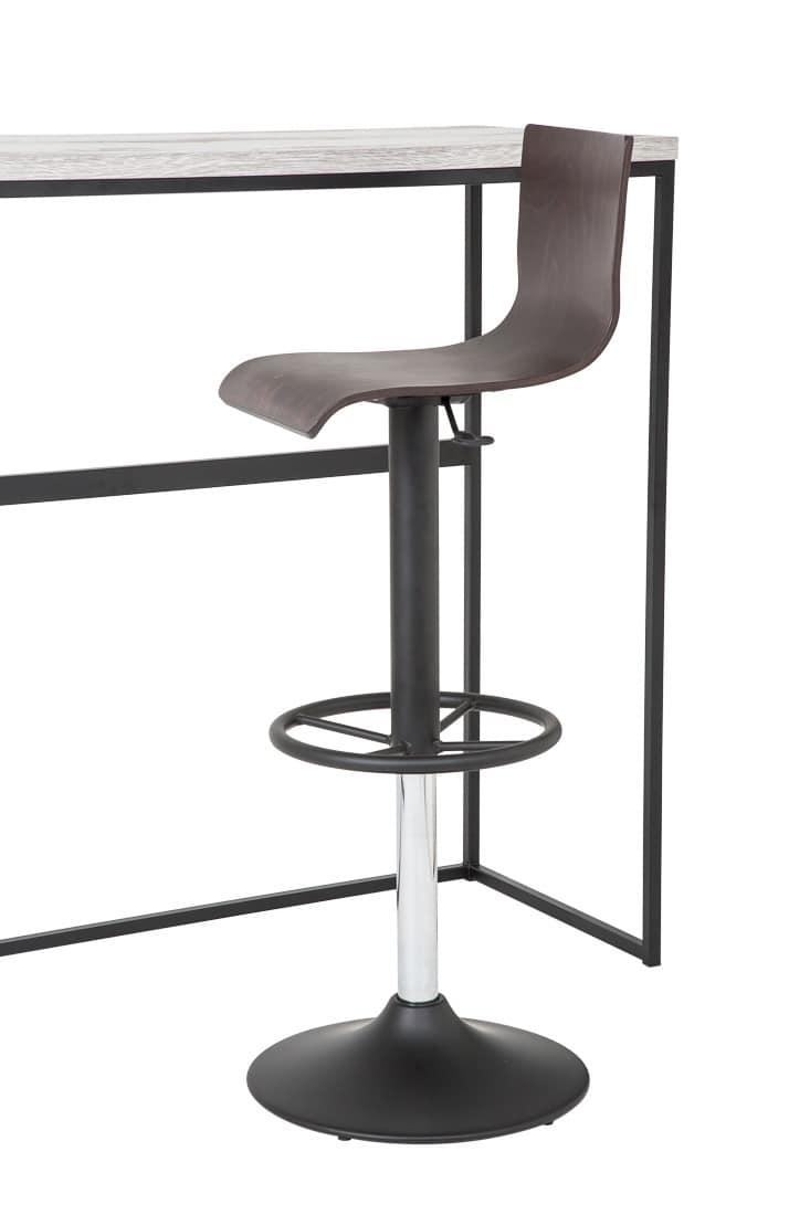 Art.Lory/Reg, Sgabello in acciaio con base tonda, seduta e schienale in legno,alzata girevole a gas, per ambienti contract