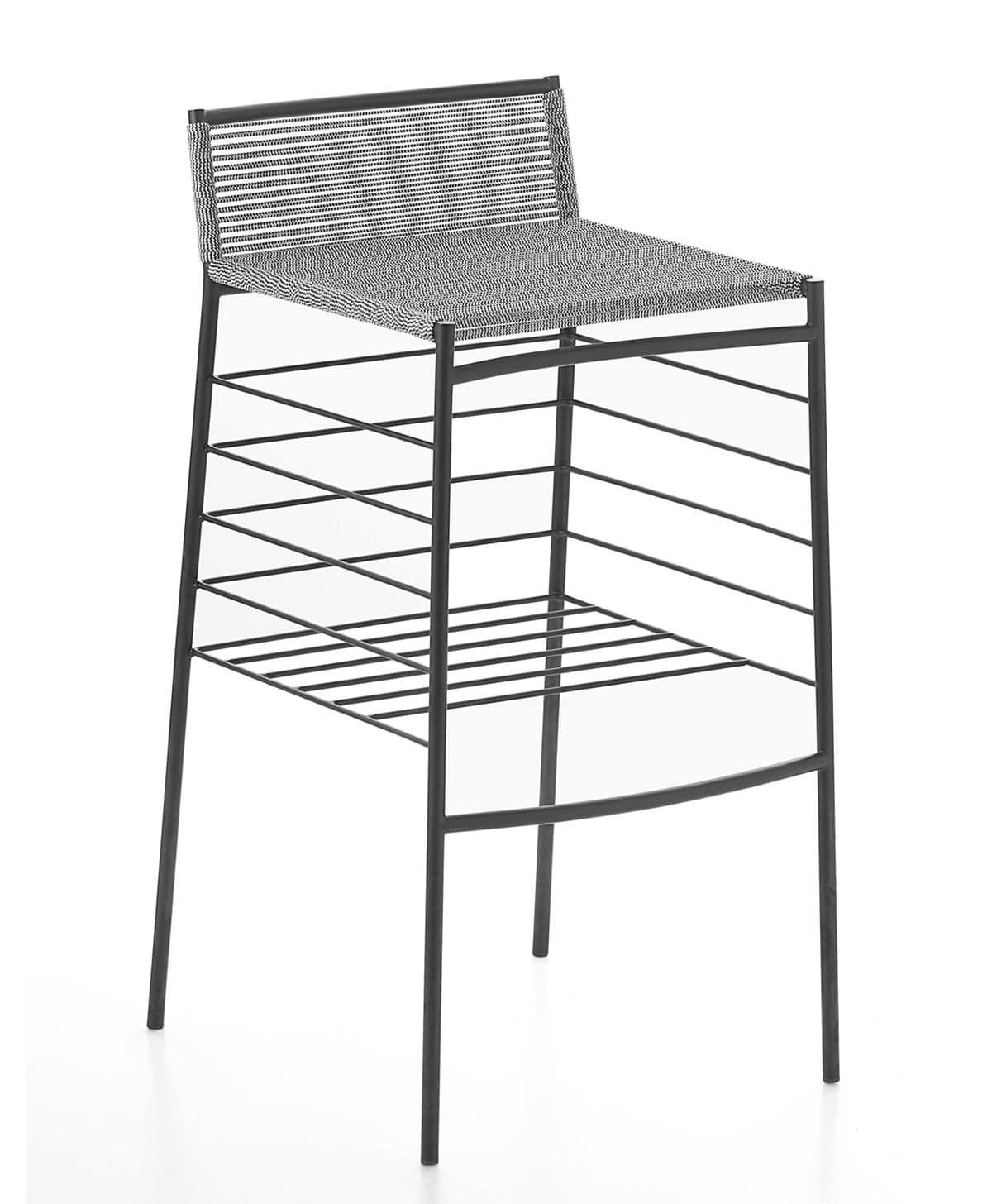 ATchair-05, Sgabello in metallo con seduta in cordino PVC ideale per ambienti residenziali e bar