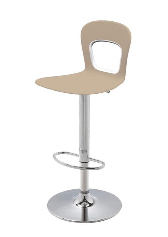 Blog Stool 145 A, Sgabello design, girevole, regolabile, con seduta in plastica