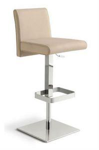 Rialto SG, Sgabello regolabile in altezza con seduta e schienale imbottiti e rivestiti in pelle