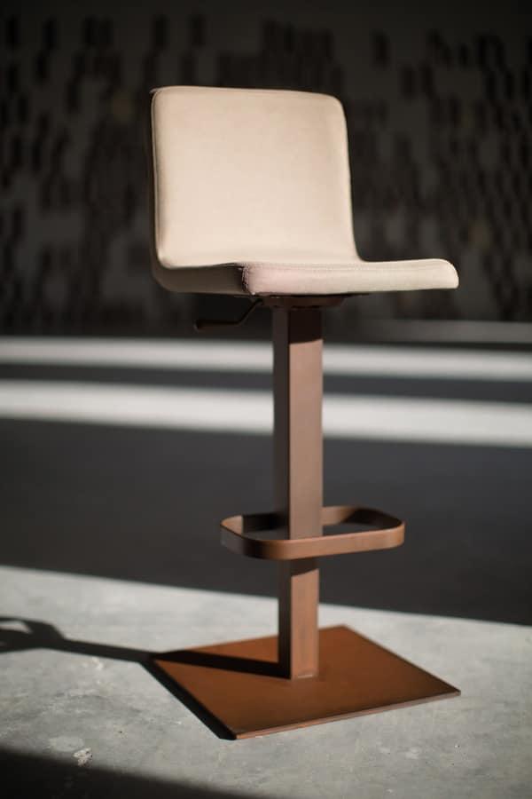 Riese sgabello metal, Sgabello con alzata regolabile e base quadrata in metallo