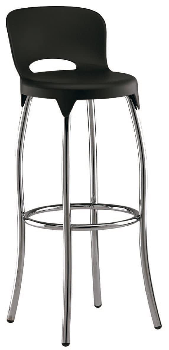 SG 031, Sgabello in metallo, con scocca in plastica, per cucine