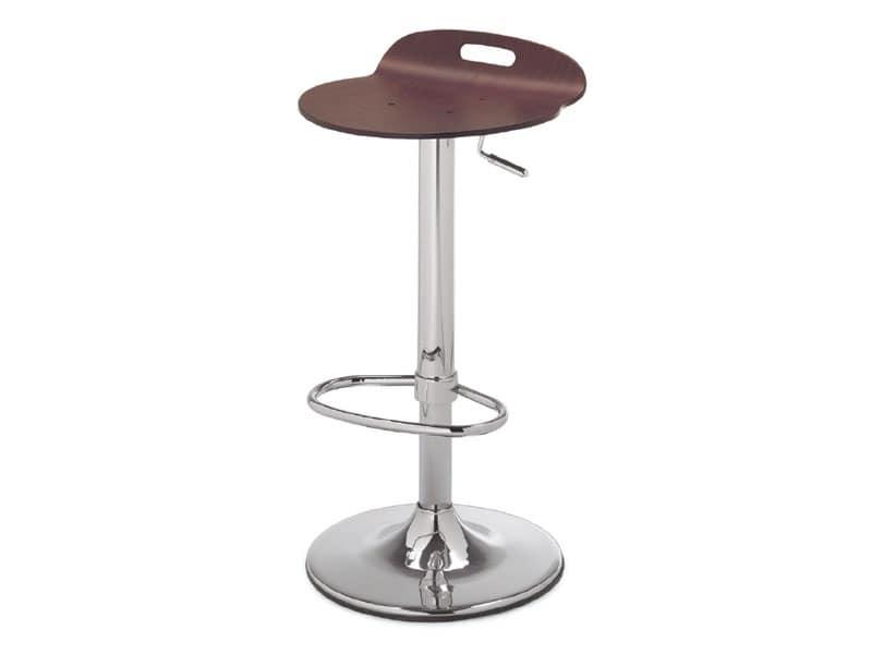 Sgabello in metallo con seduta in legno per cucina idfdesign
