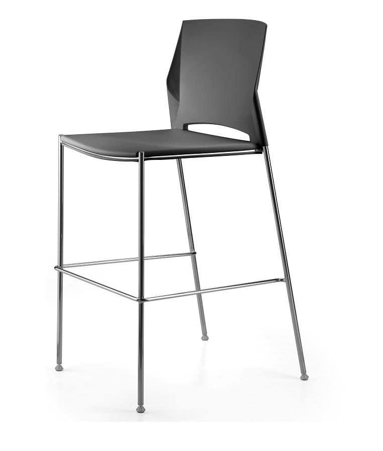 TREK 035/H, Sgabello con base in metallo, seduta e schienale in plastica ideale per bar e ristoranti