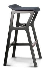 ART. NHINO IMB, Sgabello in faggio, struttura asimmetrica, seduta imbottita