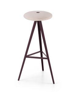 ART. 0122-H78-MET-IMB AKY, Sgabello con seduta imbottita, altezza 78 cm