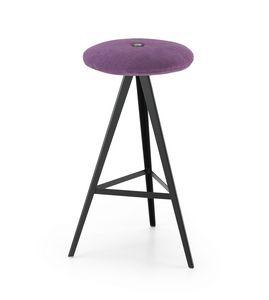 ART. 0122-H67-MET-IMB AKY, Sgabello con seduta imbottita, altezza 67 cm