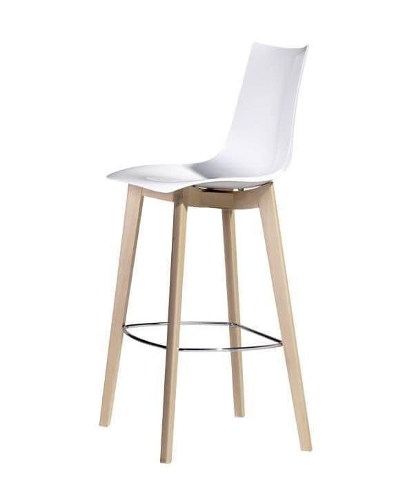 Natural Zebra H, Sgabello di design in legno e policarbonato, h. seduta a 78 cm