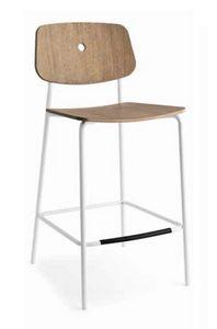 Olivia-SG, Sgabello moderno in metallo, con seduta in legno