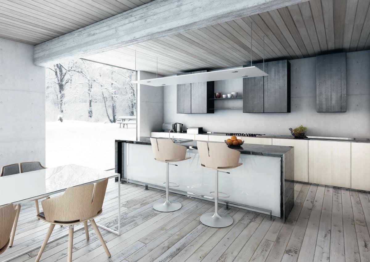 Sgabello in legno e acciaio regolabile in altezza idfdesign - Sgabelli in legno per cucina ...