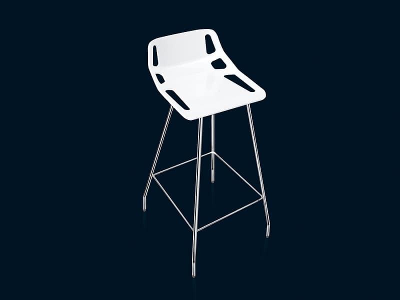CB-stool, Sgabello design in acciaio cromato, tecnologia HiRek�