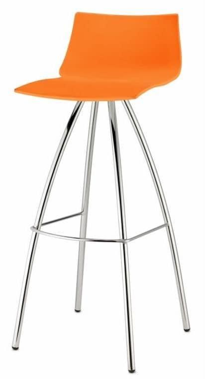 Day, Sgabello alto in metallo e tecnopolimero, 65 cm o 82 cm