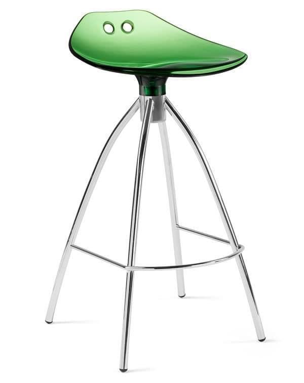 Frog, Sgabello moderno in metallo e policarbonato, seduta a 65 cm o 80 cm