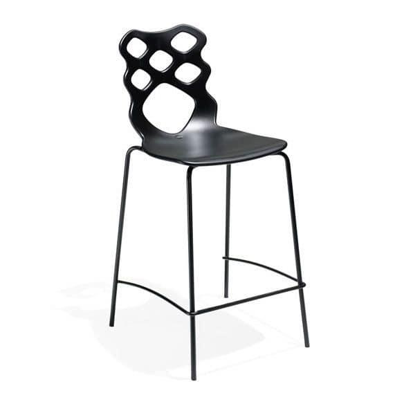 Lace stool h65 h75, Sgabello design, scocca in tecnopolimero, adatta per bar, cucine e  ristoranti moderni