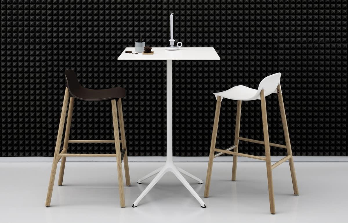 Sgabello con gambe in legno con seduta resistente idfdesign