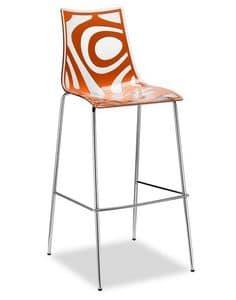 Wave H, Sgabello in metallo e policarbonato, seduta a 65 cm o 80 cm