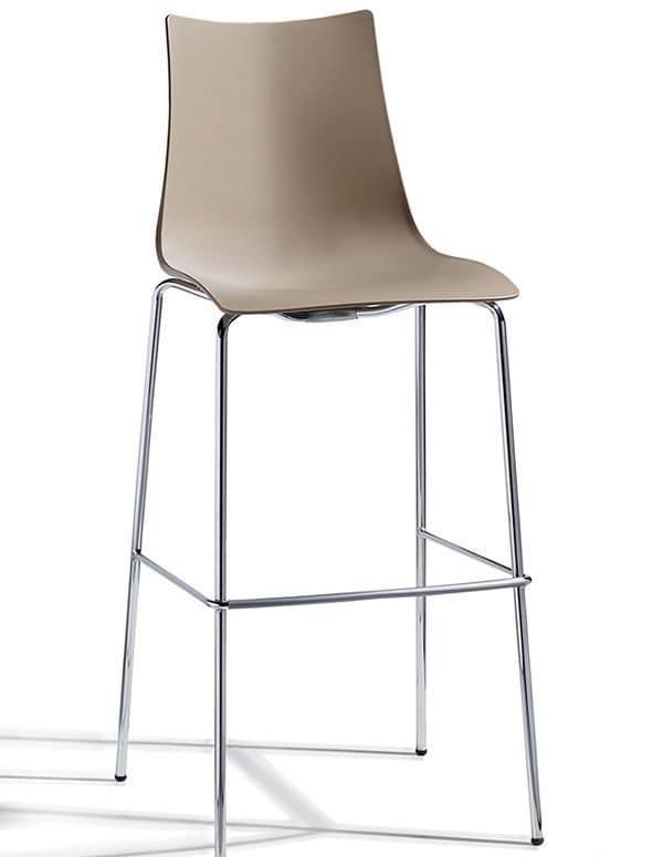 Zebra H/T2, Sgabello in metallo e tecnopolimero, h. seduta 65 od 80cm