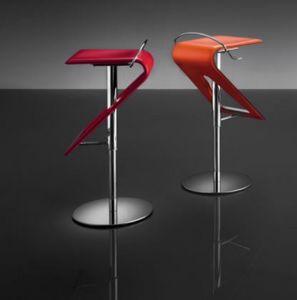 ART. 245 ZAG cuoio, Sgabello regolabile moderno, scocca in cuoio, per bar