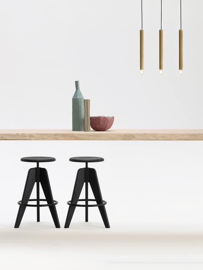 Sgabello regolabile in altezza con seduta tonda in legno for Sgabelli regolabili in altezza