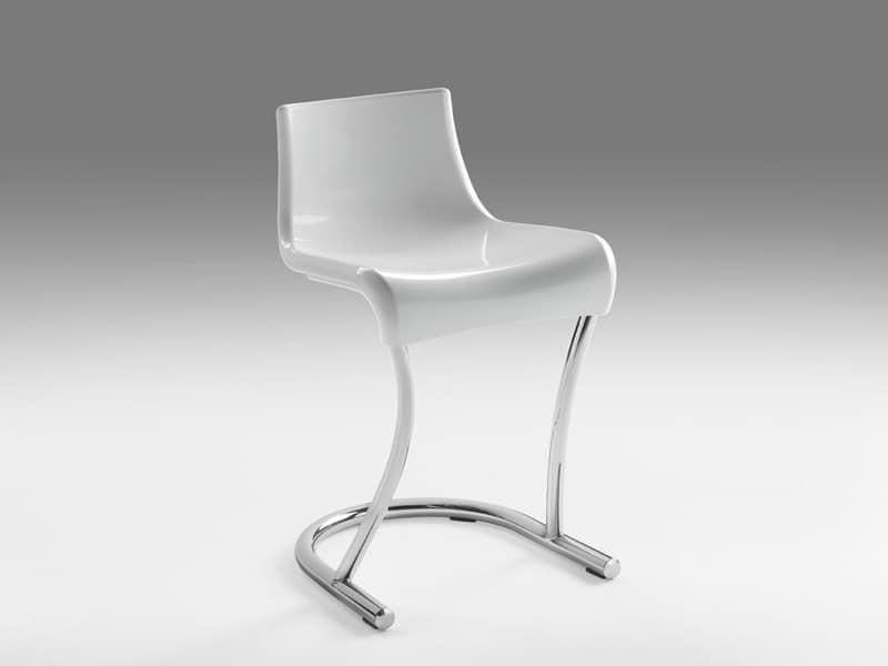Flamingo 3, Sedia in metallo con sedile in materiale plastico, per Case moderne