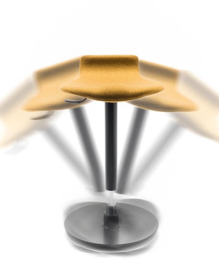 Oblò, Sgabello, con base oscillante antiscivolo, regolabile in altezza