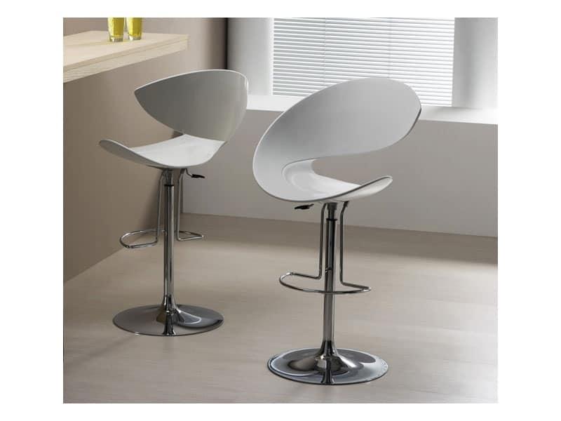 Sgabello design girevole con poggiapiedi per cucina - Sgabelli moderni per cucina ...