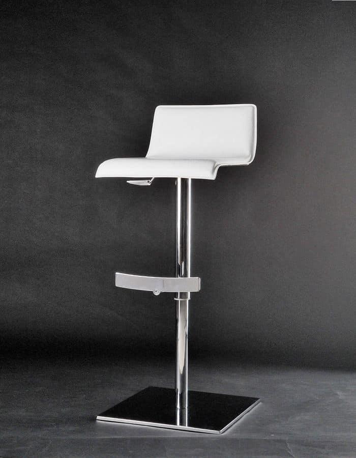 Eros sgabello, Sgabello regolabile in altezza, girevole, con seduta rivestita in cuoio