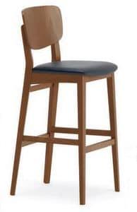 Gianna SG, Sgabello in legno massello, sedura imbottita, per bar e ristoranti