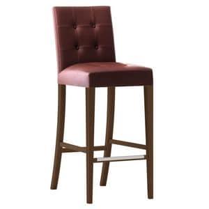 Zenith 01689X - 01699X, Sgabello con struttura in legno massiccio, seduta e schienale imbottiti, copertura in pelle, schienale capitonn�, appoggiapiede in acciaio, per ambienti contract e domestici